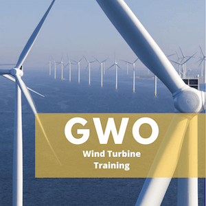wind turbines with sign saying GWO training