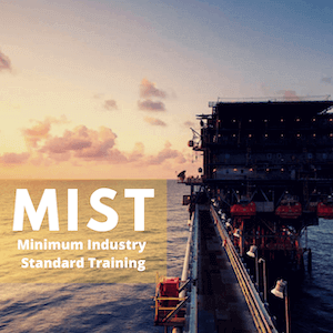 oil and gas rig with sign saying mist training